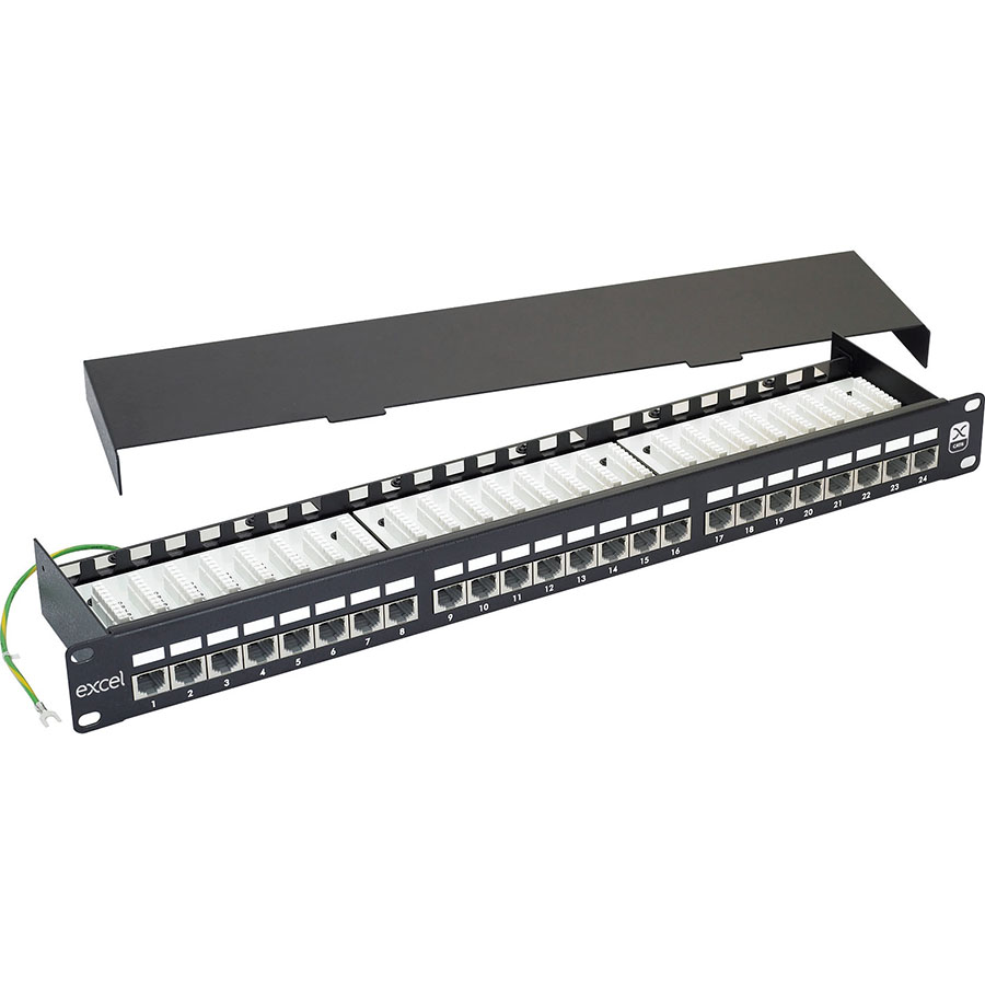 Excel CAT 6 Screened Patch Panel - 24 Port, Right-angled (1U)
