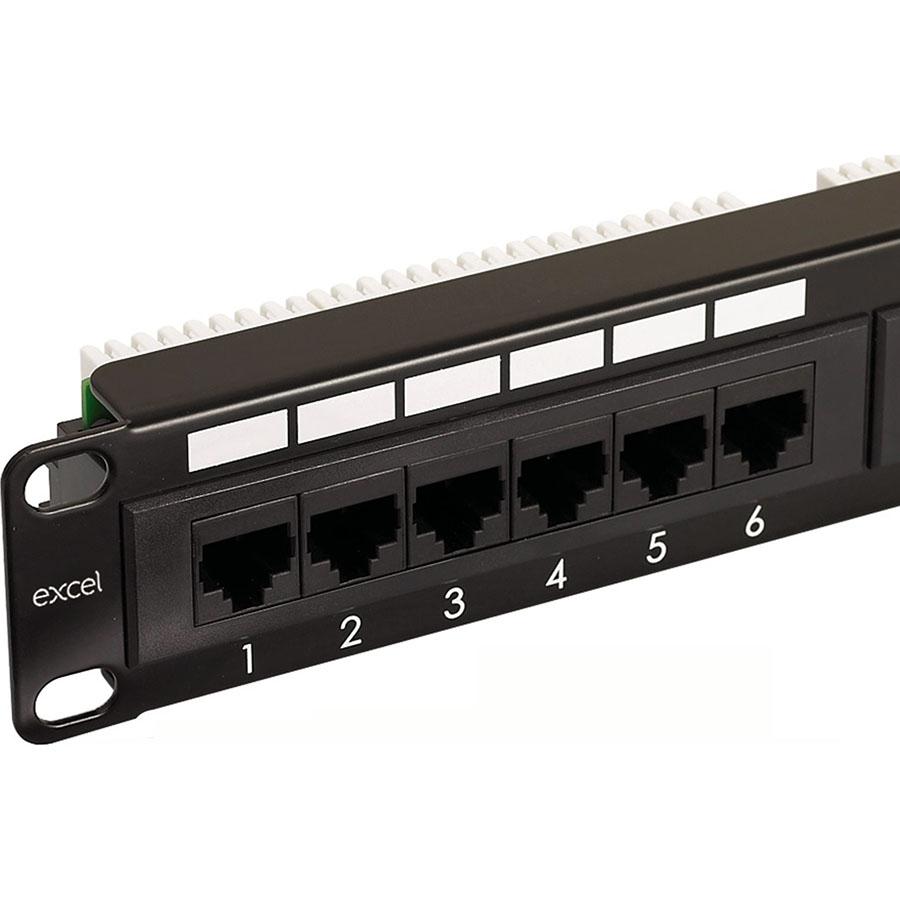 Excel CAT 6 Unscreened Patch Panel - 24-port (1U)