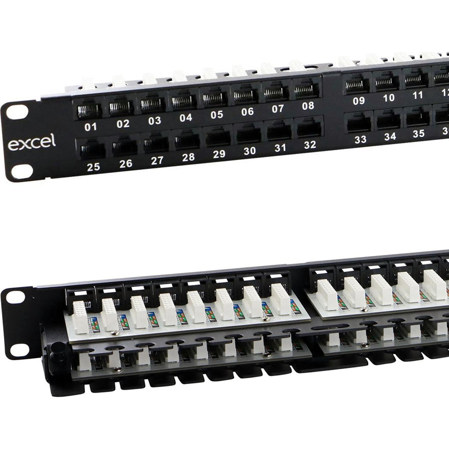 Excel CAT 6 Unscreened Patch Panel - 48 Port, Right-angled (1U)