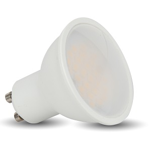 V-TAC LED Spotlight - 5W GU10 SMD White Plastic 320Lm Warm White 3000K 110deg