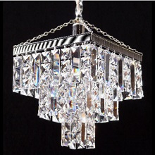 Tempo  3  Tier Square Pendant  with Full Lead Crystal Squares & Lozenge