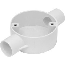 25mm PVC Conduit Box 2 Way Through Box White