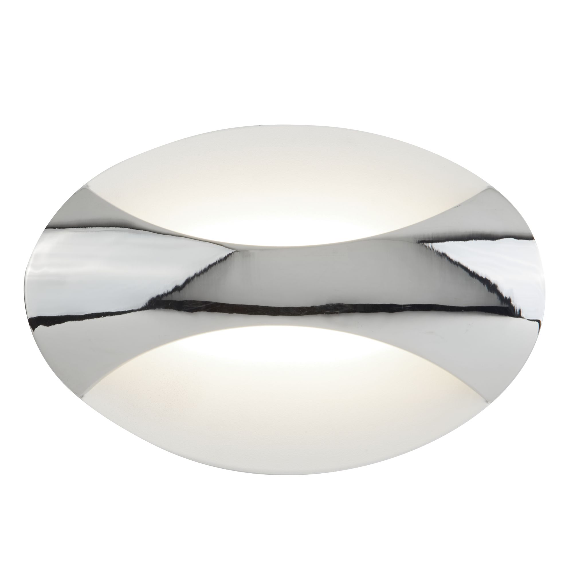 LED OVAL WALL LIGHT, CHROME/SAND WHITE