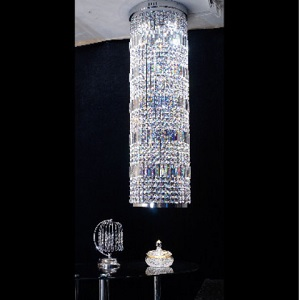 Liszt Cylinder Chrome Full Lead Crystal Trimmings  1.2  Metre with GU10 Bulbs