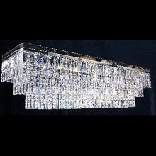 Flush Rectangular Tiered Chandelier. Full Lead Crystal Trimmings with G9 & GU10 Bulbs