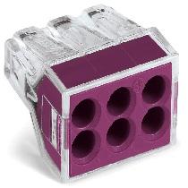 Wago Push Wire Connector 6 way - Violet (x50)