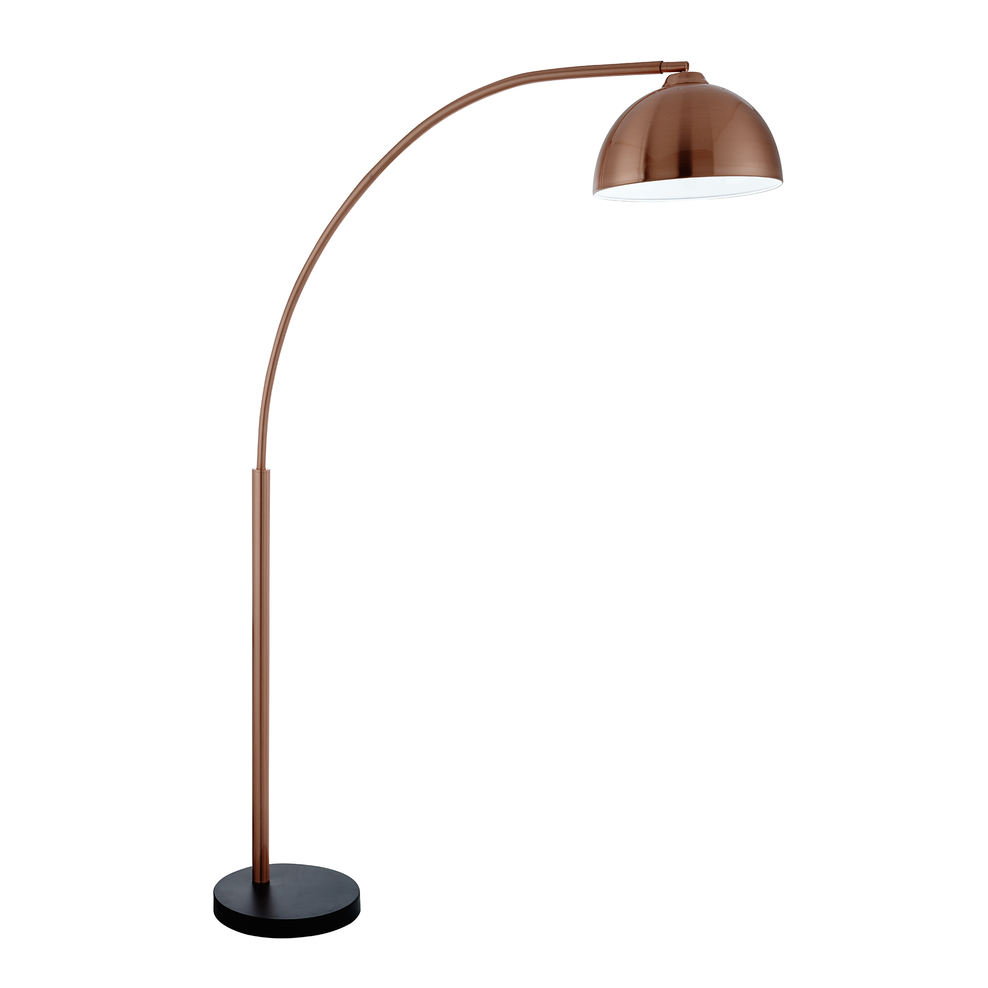 COPPER FLOOR LAMP WITH DOME SHAPED METAL SHADE