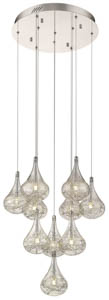 Teardrop 10 Light Staircase Pendant in Chrome 45cm(w)