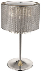 Selma Hanging Crystals Table Lamp 4 Light in Silver 30cm(w)