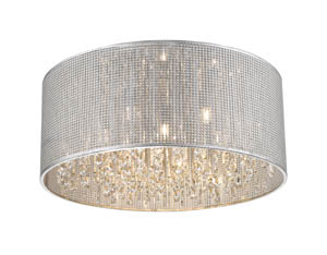 Selma Flush Crystal Ceiling 6 Light in Silver 45cm(w)