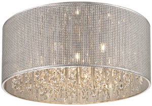 Selma Flush Crystal Ceiling 7 Light in Silver 55cm(w)