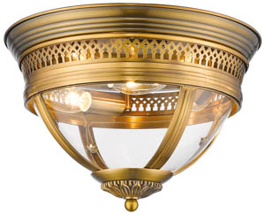Great Arden Flush Fitting 3x40W E14 in Brass 33cm(w)