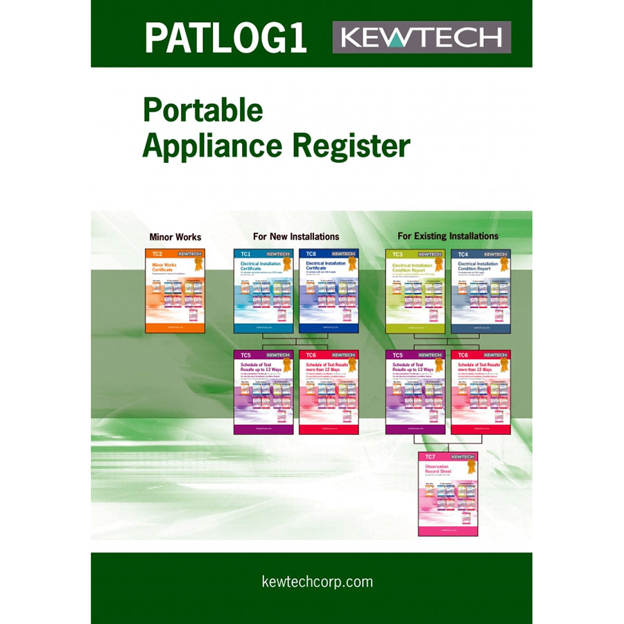 KEWTECH A4 PAT Testing log book