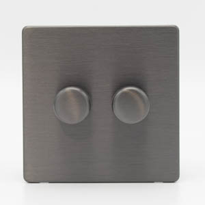 Premspec 2G 250W Push Dimmer Screwless in Satin Nickel
