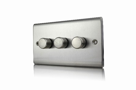 Premspec 3G 250W Push Dimmer Satin Steel