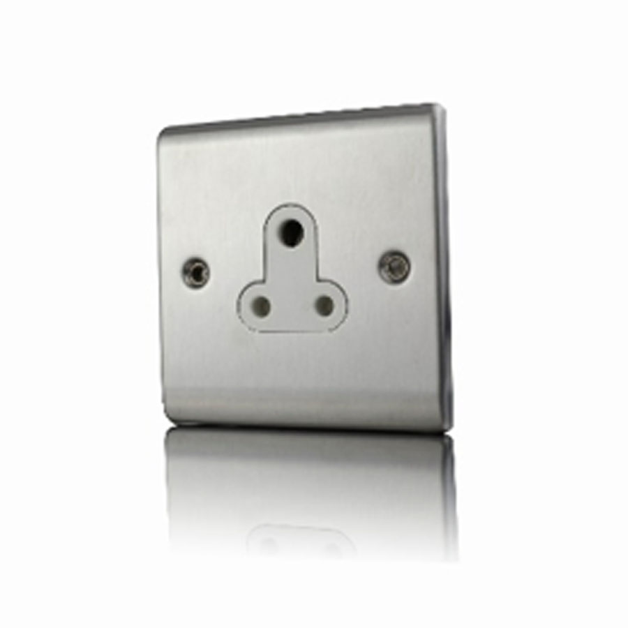 Premspec 5A UnSwitched Socket Satin Steel White Insert