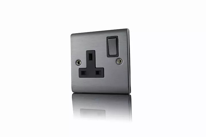 Premspec 1G 13A DP Switched Socket Satin Nickel