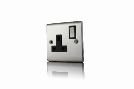 Premspec 1G 13A DP Switched Socket Satin Steel in Black Inserts Satin Steel
