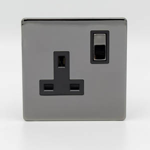 Premspec 1G 13 DP Switched Socket Black Nickel Screwless In Black Nickel
