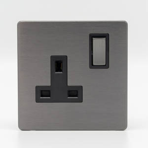 Premspec 1G 13 DP Switched Socket Screwless in Satin Nickel