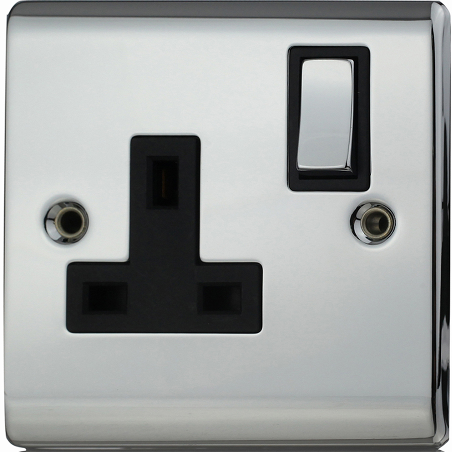 Premspec 1G 13A DP Switched Socket Polished Chrome with Black Inserts
