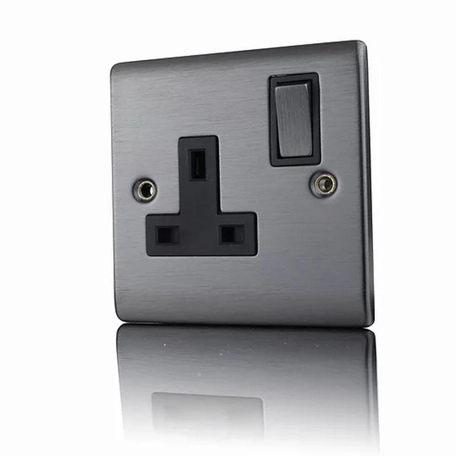Premspec 1G 13A DP Switched Socket Satin Nickel