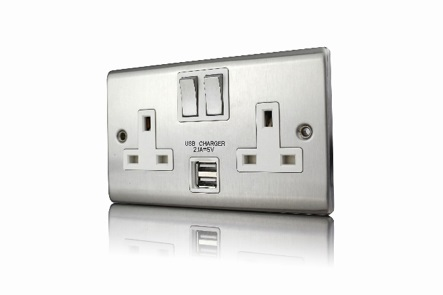Premspec 13A 2G 2.1mA Switched USB Socket Satin Steel
