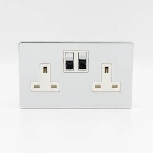 Premspec 2G 13A DP Switch Socket Screwless in Polished Chrome