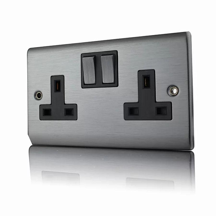 Premspec 2G 13A DP Switched Socket Satin Nickel