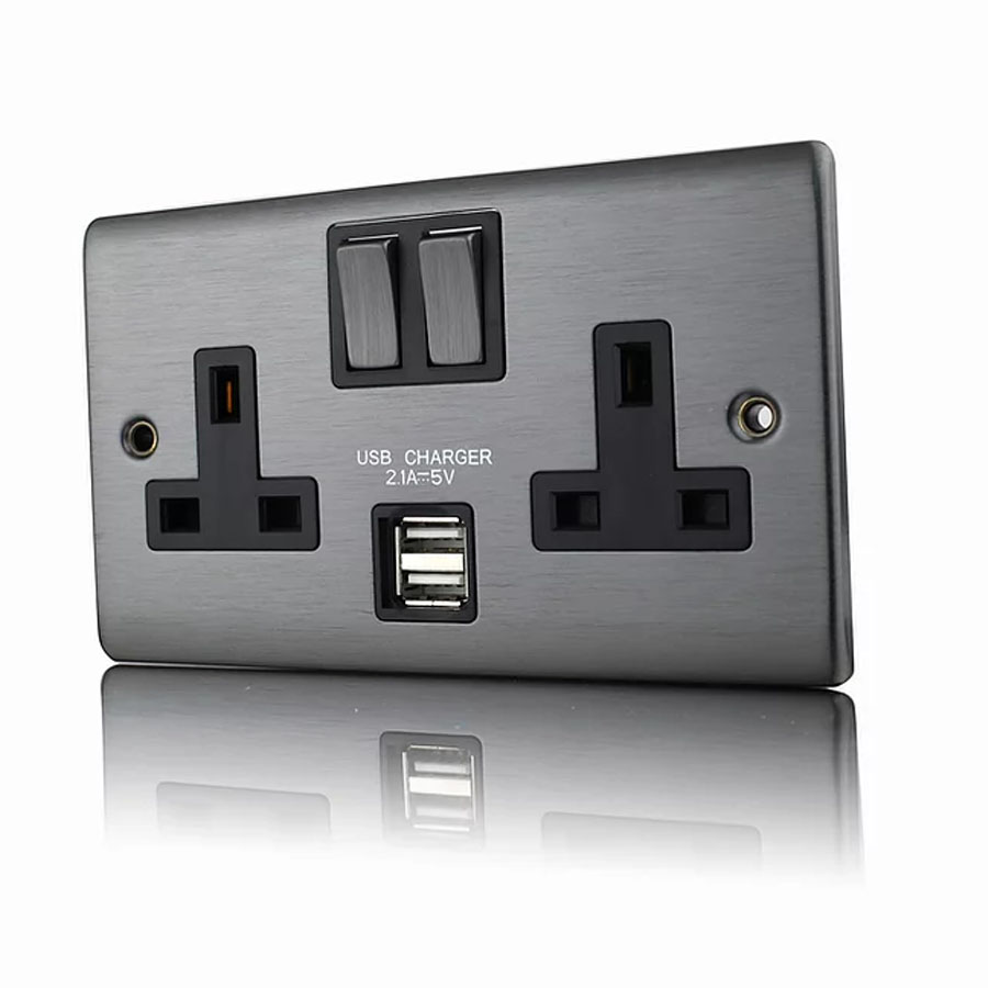 Premspec 2G 13A DP Switched USB Socket Satin Nickel