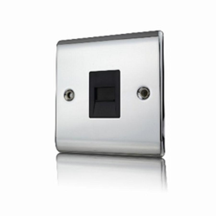 Premspec Master Phone Socket Polished Chrome Black Insert