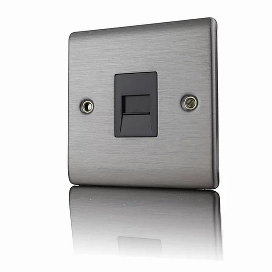 Premspec Master Phone Socket Satin Nickel