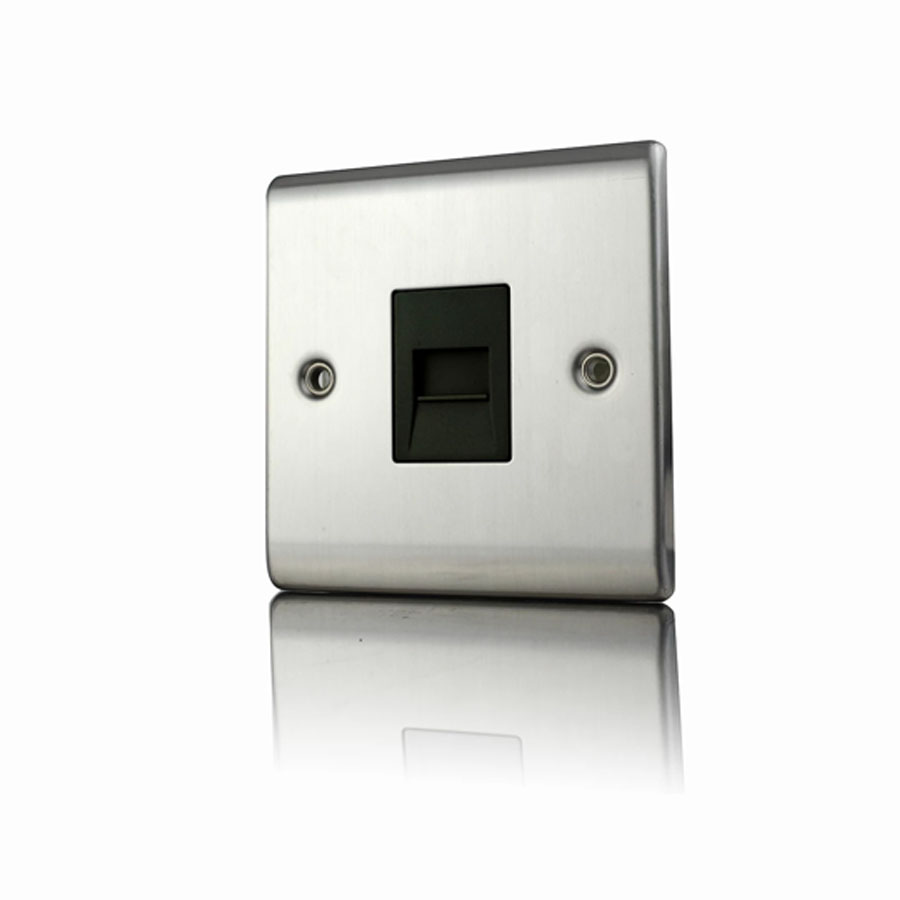 Premspec Master Phone Socket Satin Steel Black Insert