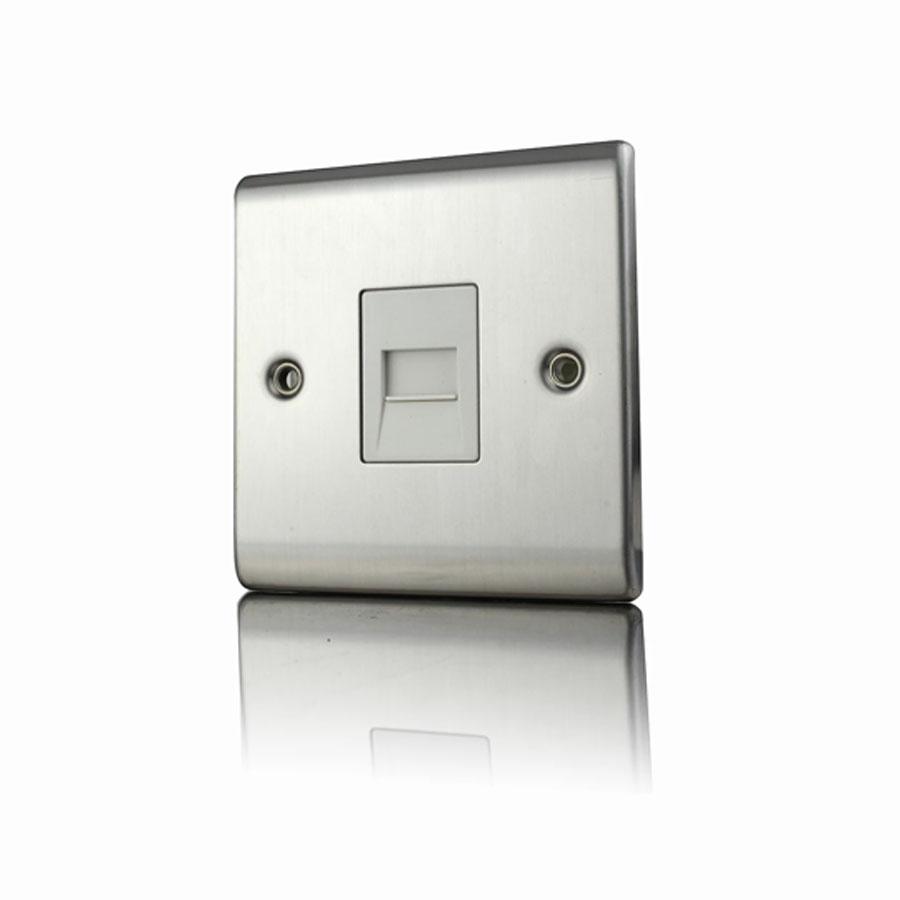 Premspec Master Phone Socket Satin Steel White Insert