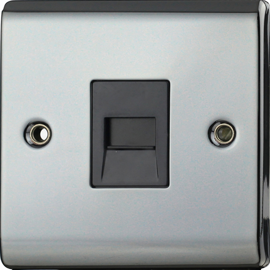 Premspec Slave Phone Socket Black Nickel