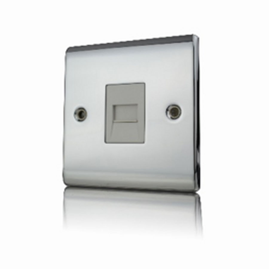 Premspec Slave Phone Socket Polished Chrome