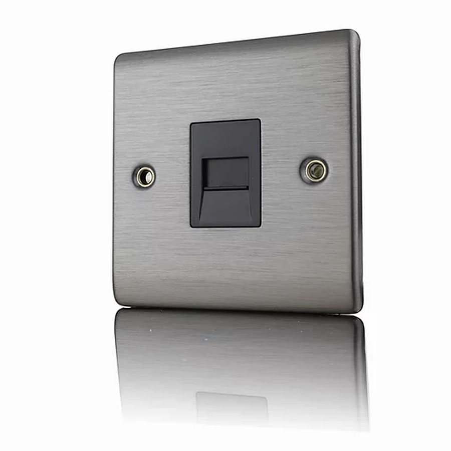 Premspec Slave Phone Socket Satin Steel Black Insert