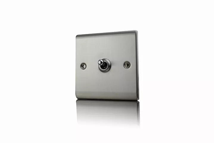 Premspec 10AX 1G 2W Toggle Switch Satin Steel
