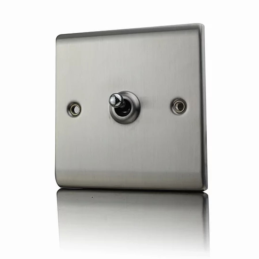 Premspec 10AX 1G 2W Toggle Switch Satin Steel