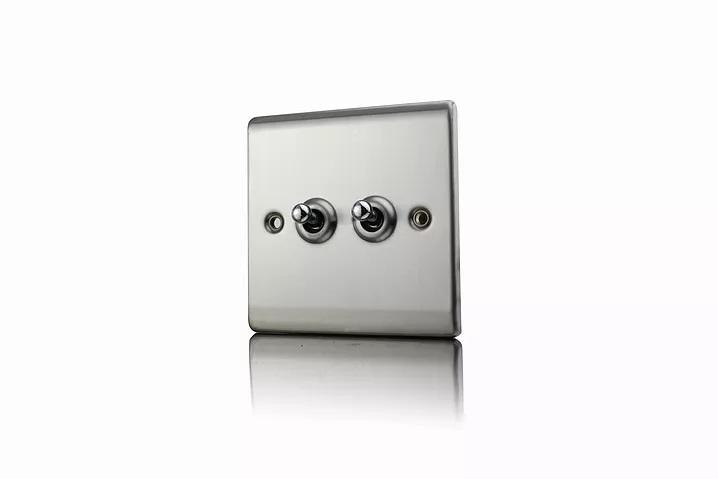 Premspec 10AX 2G 2W Toggle Switch Satin Steel
