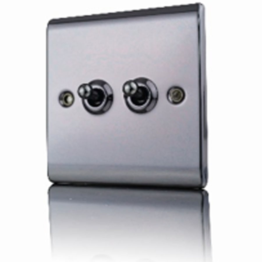 Premspec 10AX 2G 2W Toggle Switch Black Nickel