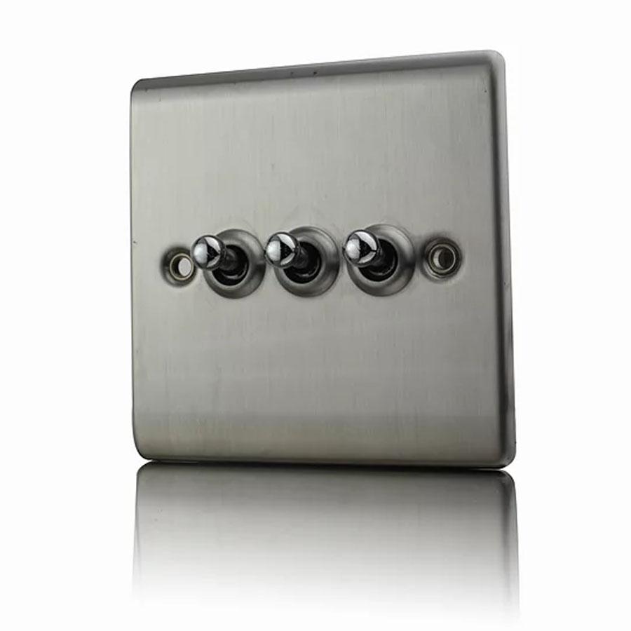 Premspec 10AX 3G 2W Toggle Switch Satin Nickel