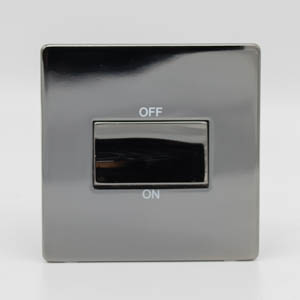 Premspec TP Fan Isolator Switch Screwless In Black Nickel