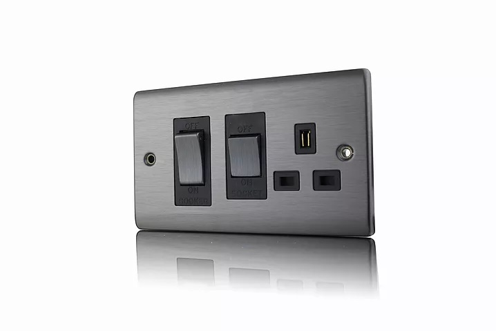 Premspec 45A Cooker Control + Socket Satin Nickel