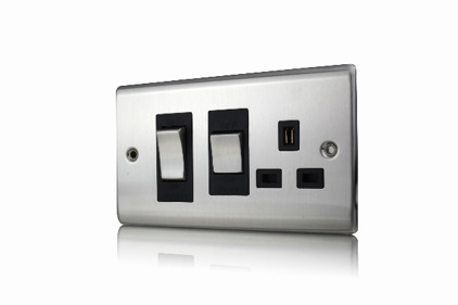 Premspec 45A Cooker Control + Socket Satin Steel