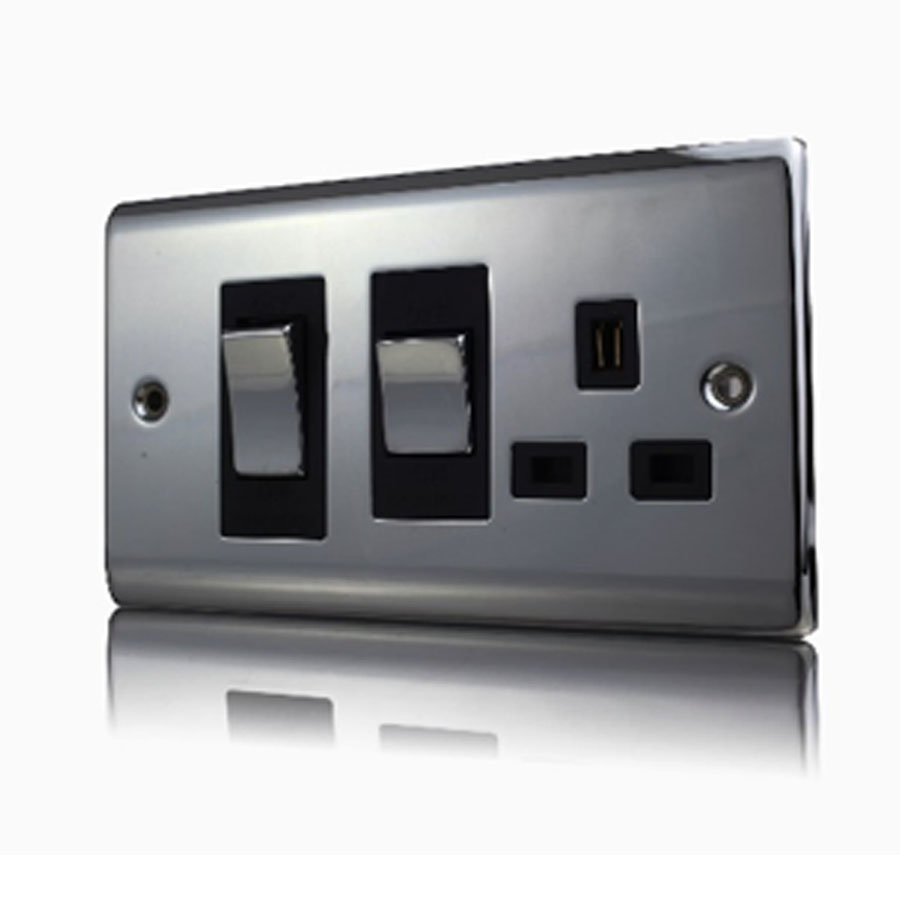 Premspec 45A Cooker Control + Socket Black Nickel