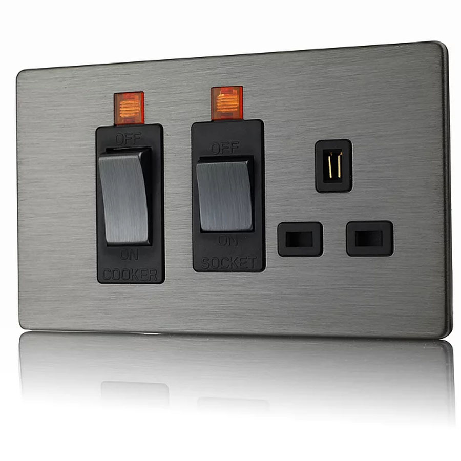 Premspec 45A Cooker Control + Socket with Neon Screwless In Satin Nickel