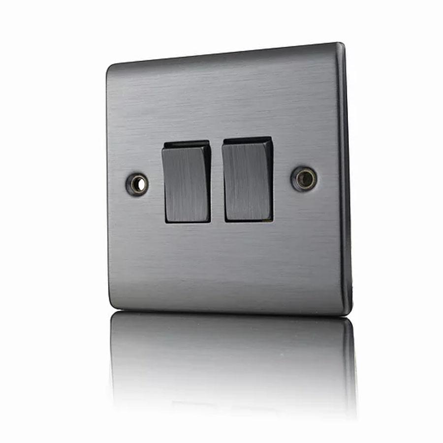 Premspec 2G 2W 10AX Switch In Satin Nickel