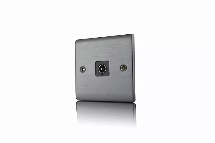 Premspec 1G Co-axial Socket Satin Nickel
