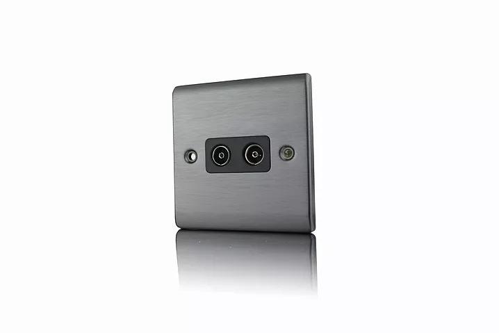 Premspec 2G Co-axial Socket Satin Nickel